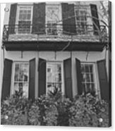 Charleston Style Home Black And White Acrylic Print