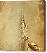 Charlie Parker Saxophone Brown Vintage Poster And Quote, Gift For Musicians Acrylic Print