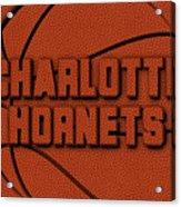 Charlotte Hornets Leather Art Acrylic Print