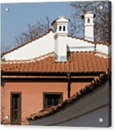 Charming Chimneys - White Stucco And Terracotta Juxtaposition Acrylic Print