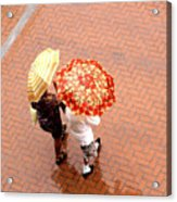 Chatting In The Rain - Umbrellas Series 1 Acrylic Print
