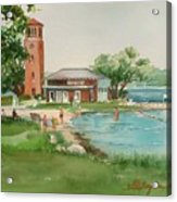 Chautauqua Bell Tower And Beach Acrylic Print