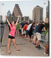 Cheerful Attractive Female Austinite Waves Her Hands With Excitement On Seeing The Austin Bats Acrylic Print