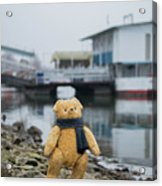 Cheerful Teddy Bear In Knitted Scarf Stand By The Riverside Beside The Port Acrylic Print