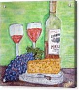 Cheese Wine And Grapes Acrylic Print