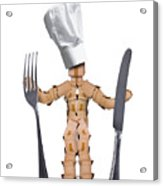 Chef Box Man Character With Cutlery Acrylic Print