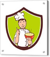 Chef Cook Bowl Pointing Crest Cartoon Acrylic Print
