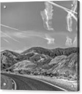 Chem Trails Over Valley Of Fire Black White  Acrylic Print