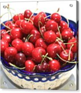 Cherries In Blue Bowl Acrylic Print