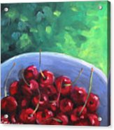 Cherries On A Blue Plate Acrylic Print