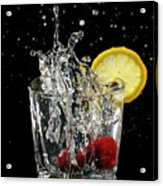 Cherries Splashing Into Sparkling Water Glass With Lemon Slice O Acrylic Print