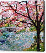 Cherry Blossoms And Bridge 3 201730 Acrylic Print