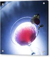 Cherry Martini Cocktail Drink At Night Acrylic Print