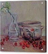 Cherry Still Life Pottery Red Still Life Art Still Life Painting Impressionist Painting Impression Acrylic Print