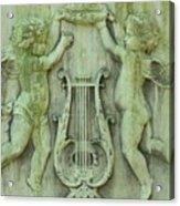 Cherubs In Moss Green Acrylic Print