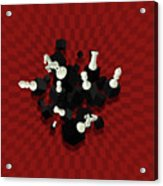 Chessboard And 3d Chess Pieces Composition On Red Acrylic Print