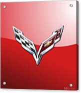 Chevrolet Corvette - 3d Badge On Red Acrylic Print