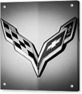 Chevrolet Corvette Emblem -0406bw Acrylic Print