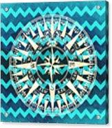 Chevron Print Compass Blue Acrylic Print