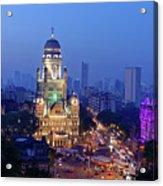 Chhatrapati Shivaji Terminus V.t. And Municipality Head Office In Mumbai. Acrylic Print