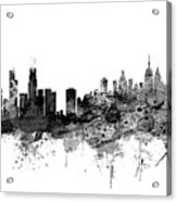 Chicago And New York City Skylines Mashup Acrylic Print