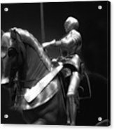 Chicago Art Institute Armored Knight And Horse Bw 01 Acrylic Print