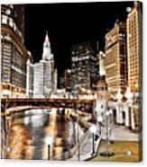 Chicago At Night At Wabash Avenue Bridge Acrylic Print