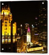Chicago At Night  Acrylic Print