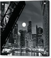 Chicago Black And White Nights Acrylic Print