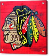 Chicago Blackhawks Hockey Team Vintage Logo Made From Old Recycled Illinois License Plates Red Acrylic Print