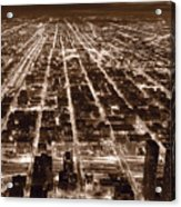Chicago City Lights West B W Acrylic Print
