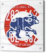 Chicago Cubs Retro Vintage Baseball Logo License Plate Art Acrylic Print