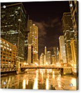 Chicago Downtown City  Night Photography Acrylic Print