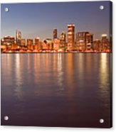 Chicago Dusk Skyline Panoramic  Acrylic Print