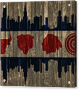 Chicago Flag Barn Door Acrylic Print