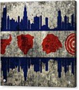 Chicago Grunge Flag Acrylic Print