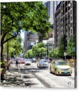Chicago Hailing A Cab In June Acrylic Print