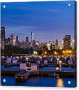 Chicago Harbor View At Night Acrylic Print