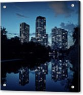 Chicago High-rise Buildings By The Lincoln Park Pond At Night Acrylic Print