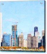 Chicago Illinois Skyline Painterly Triptych Plate Three Of Three 20180516 Acrylic Print