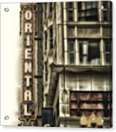 Chicago In November Oriental Theater Signage Vertical Acrylic Print