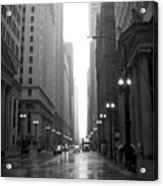 Chicago In The Rain 2 B-w Acrylic Print
