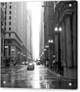 Chicago In The Rain B-w Acrylic Print