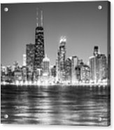 Chicago Lakefront Skyline Black And White Photo Acrylic Print