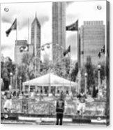 Chicago Nfl Draft Town 2016 Bw Acrylic Print