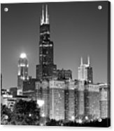 Chicago Night Skyline In Black And White Acrylic Print by Paul Velgos