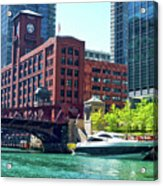 Chicago Parked By The Clark Street Bridge On The River Acrylic Print