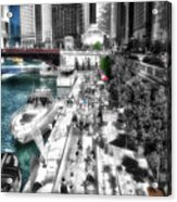 Chicago Parked On The River Walk 03 Sc Acrylic Print