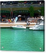Chicago Parked On The River Walk Panorama 01 Acrylic Print