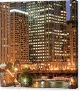 Chicago River At Night Acrylic Print